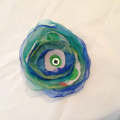 Fabric flower brooch/hairclip blue green